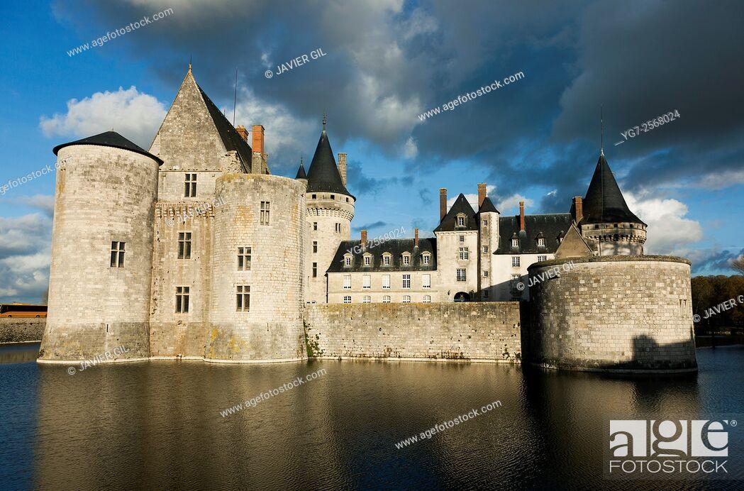 Stock Photo: Castle of Sully-Sur-Loire, Loiret, Centre-Val de Loire, France.