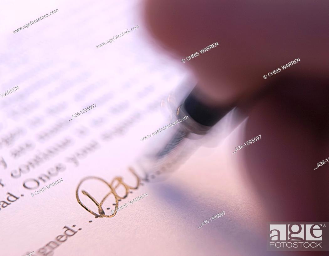 Stock Photo: Document signature.