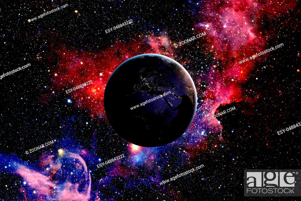 Stock Photo: Earth from space and galaxy. Elements of this image furnished by NASA.