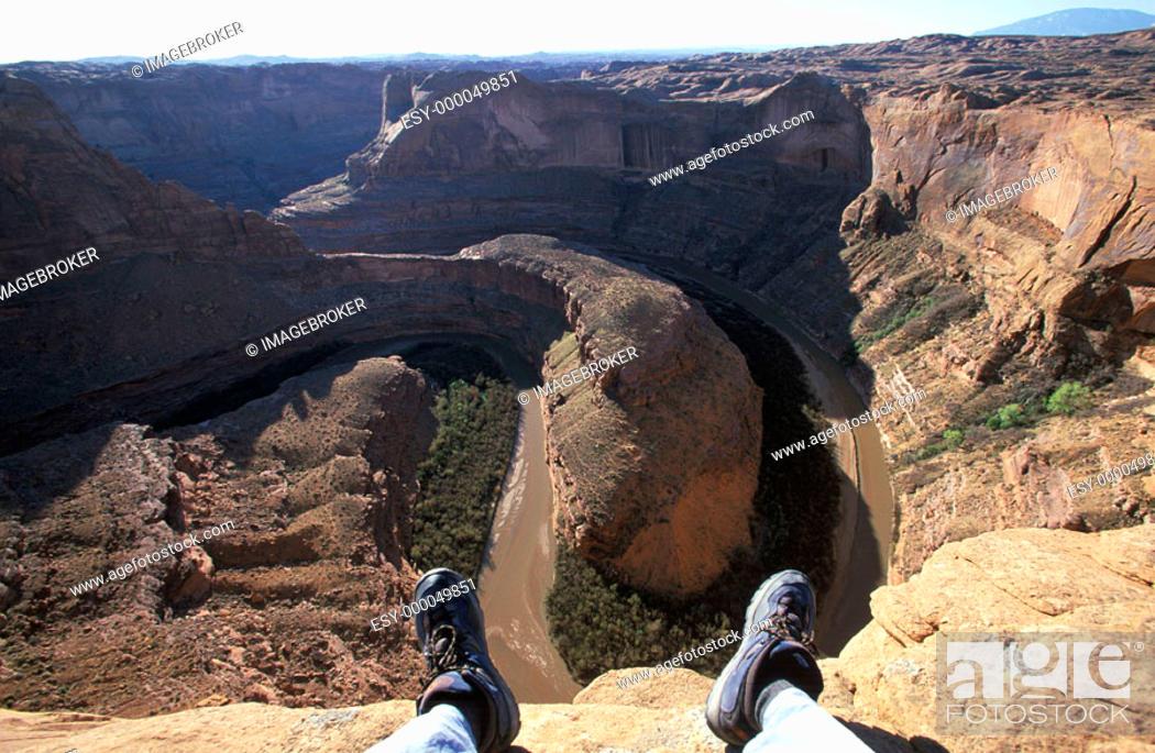 Stock Photo: Feet over Escalante River, Glen Canyon Area, Utah , USA.