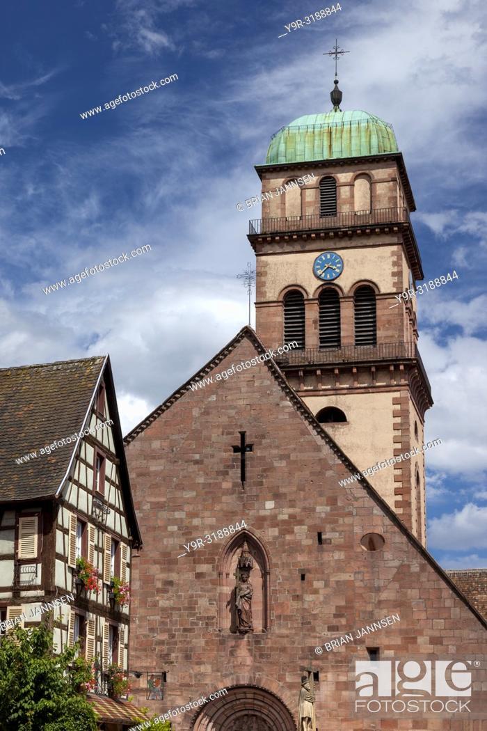 Stock Photo: Tower of Eglise Sainte-Croix Kaysersberg, Kaysersberg-Vignoble, Alsace, France.