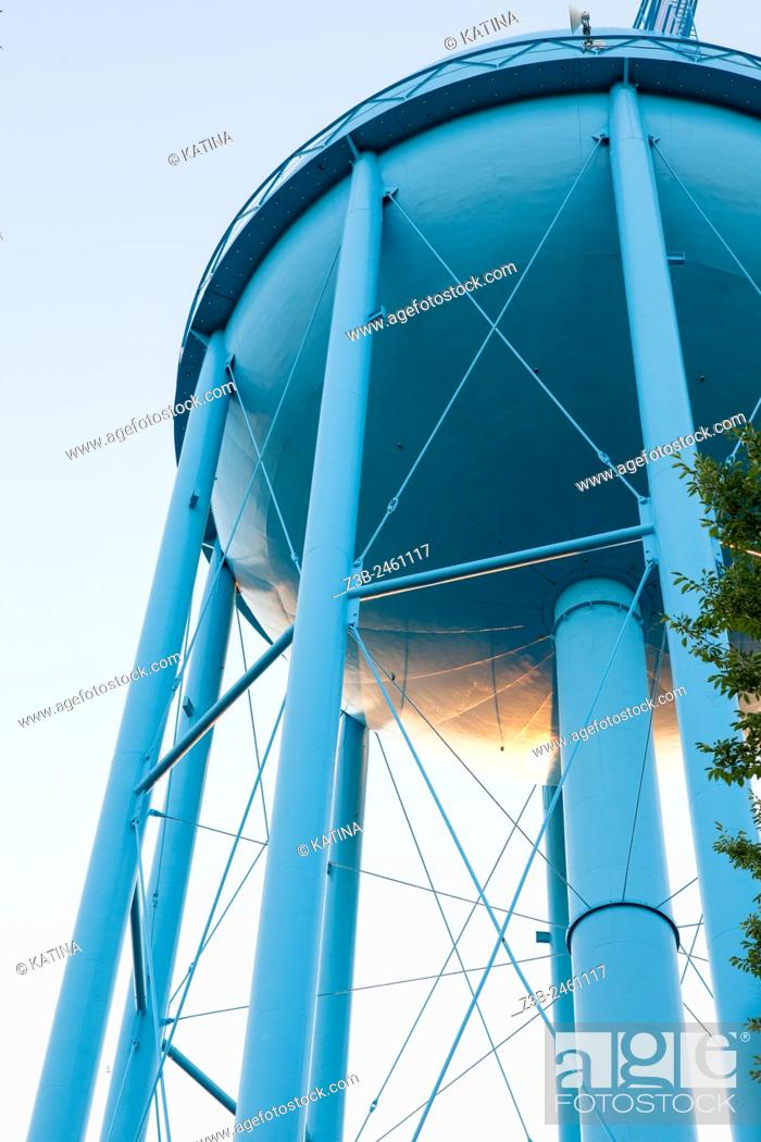 Stock Photo: Blue water tower seen from below, Midland, Michigan, Midwest, USA.