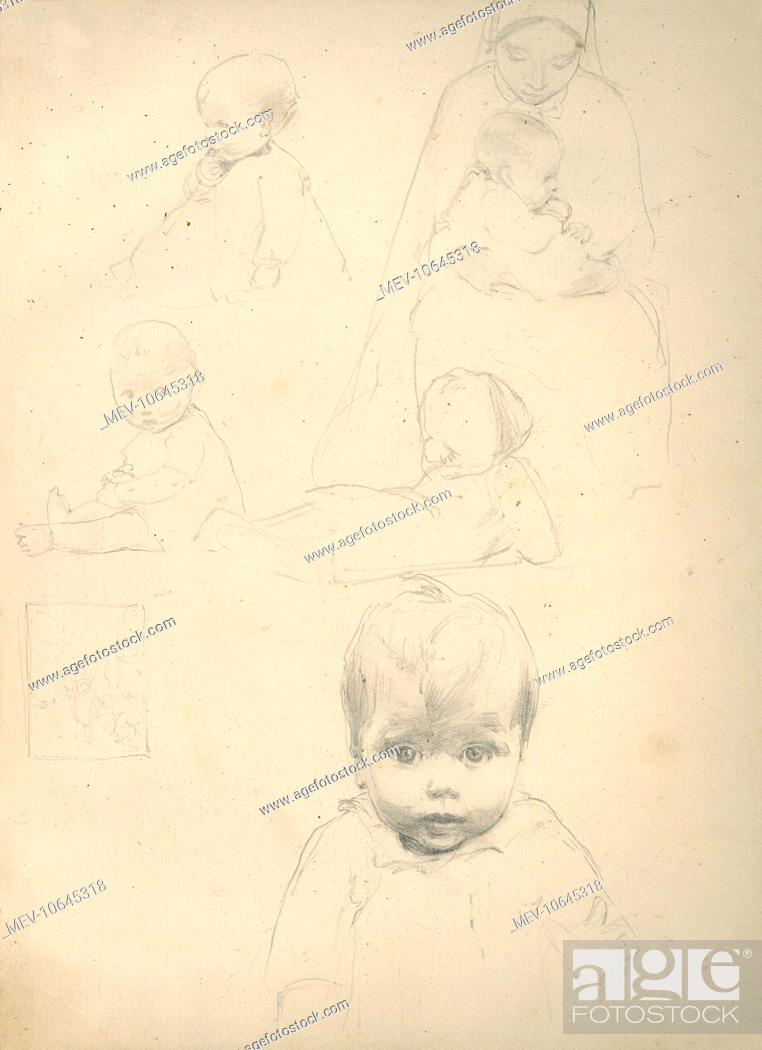 Pencil Sketches Of Babies And A Mother Stock Photo Picture And