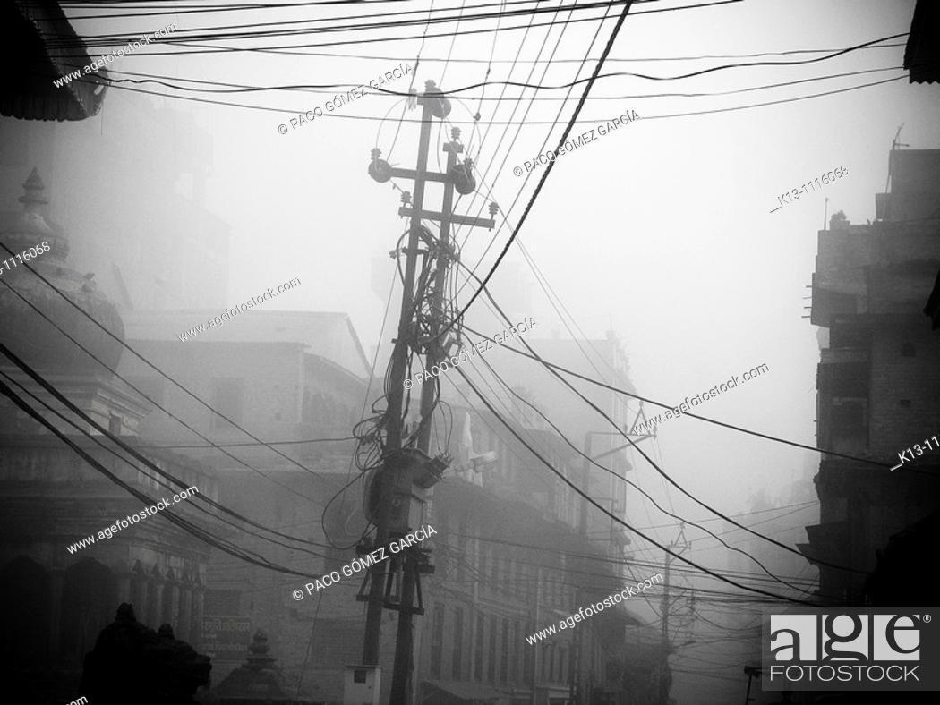 Stock Photo: Power lines by Durbar Square, Patan, Kathmandu valley, Nepal.