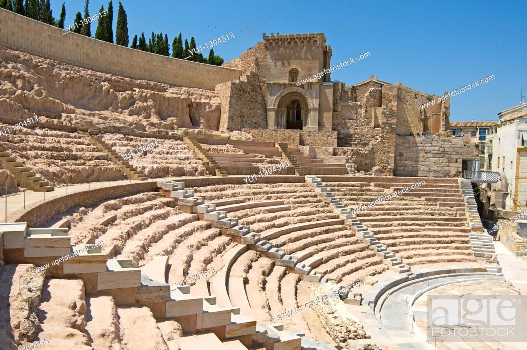 Stock Photo: Roman Amphitheatre in Cartagena, Murcia, Spain.