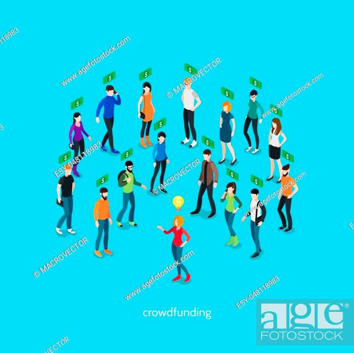Stock Vector: Crowdfunding isometric concept with group of people and creative person involving in business project vector illustration.