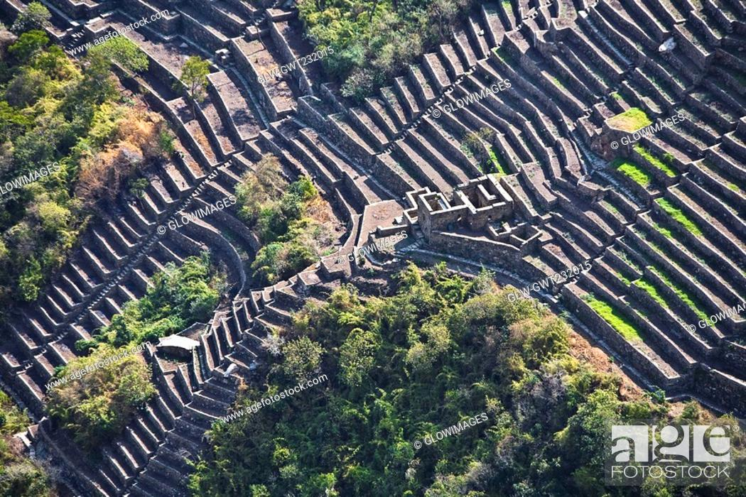 Stock Photo: High angle view of the old ruins, Choquequirao, Peru.