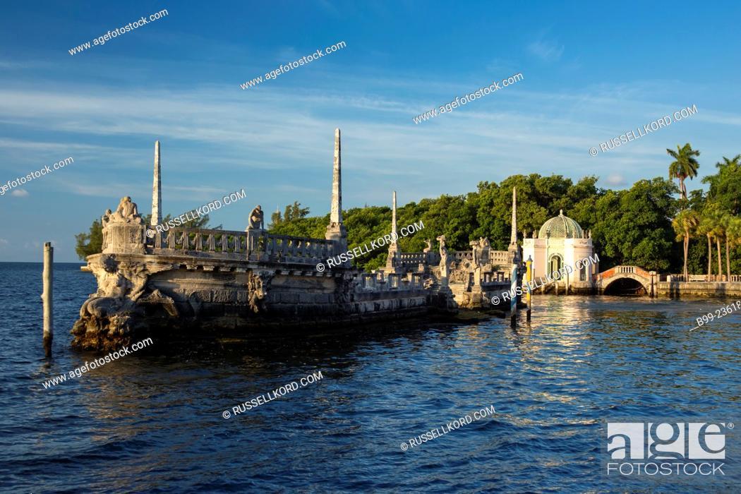 Stock Photo: Italian Stone Barge Vizcaya Museum Coconut Grove Biscayne Bay Miami Florida Usa.