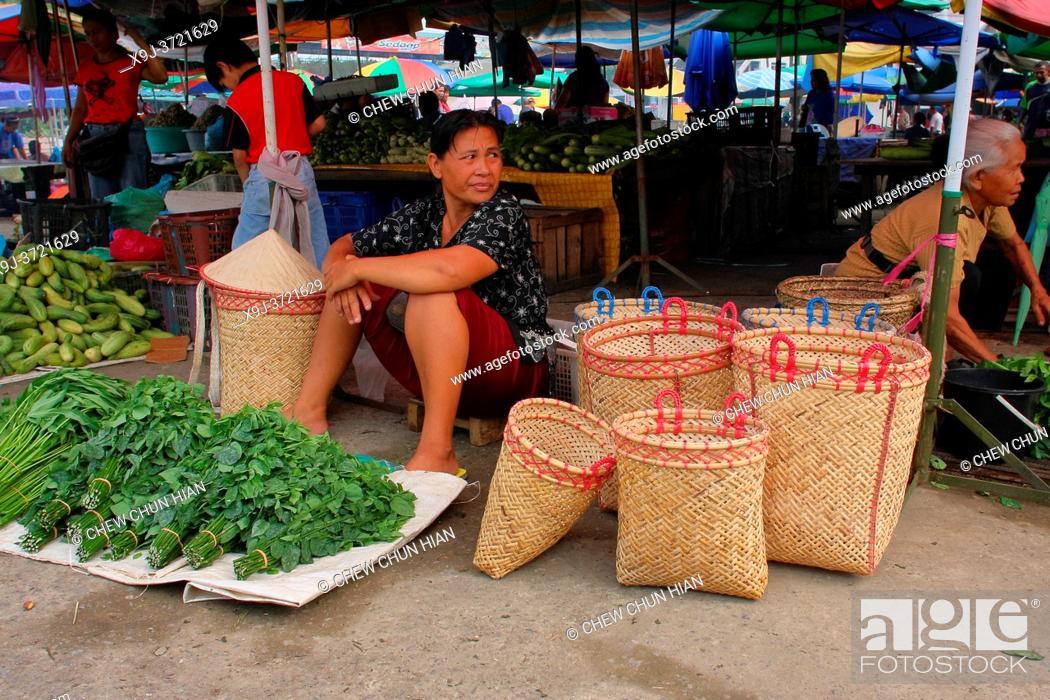 Stock Photo: View of Local market in sarawak, Bintulu division, sarawak, malaysia, borneo.
