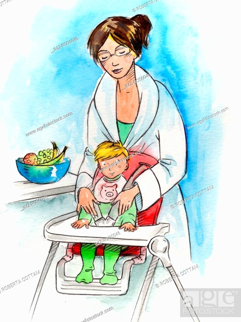 Stock Photo: A mother seating her baby in a high chair.