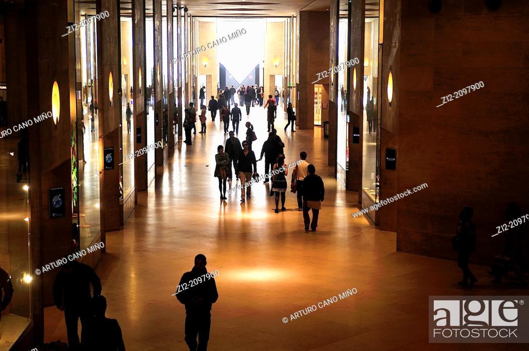 Stock Photo: Museum of Louvre, underground passage, Paris, France.