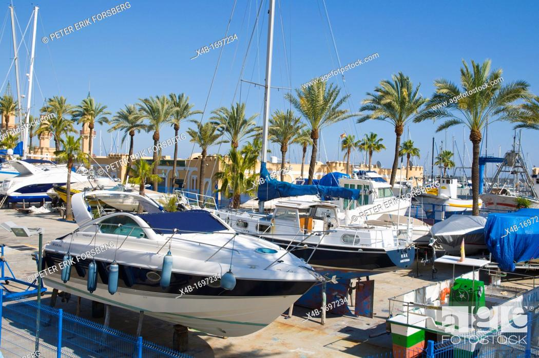 Stock Photo: Boat storage for winter Fuengirola city Costa del Sol coast the Malaga region Andalusia Spain Europe.