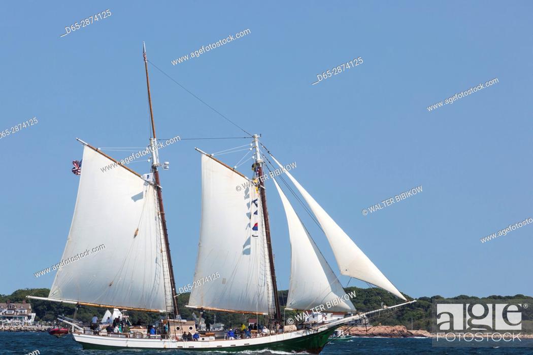 Stock Photo: USA, Massachusetts, Cape Ann, Gloucester, America's Oldest Seaport, Gloucester Schooner Festival, schooner sailing ships.