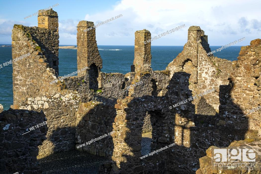 Stock Photo: Dunlace Castle, County Antrim, Northern Ireland.