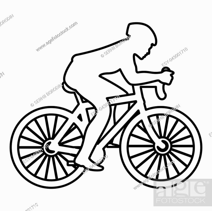 Stock Vector: Cyclist on bike silhouette icon black color vector illustration flat style simple image.