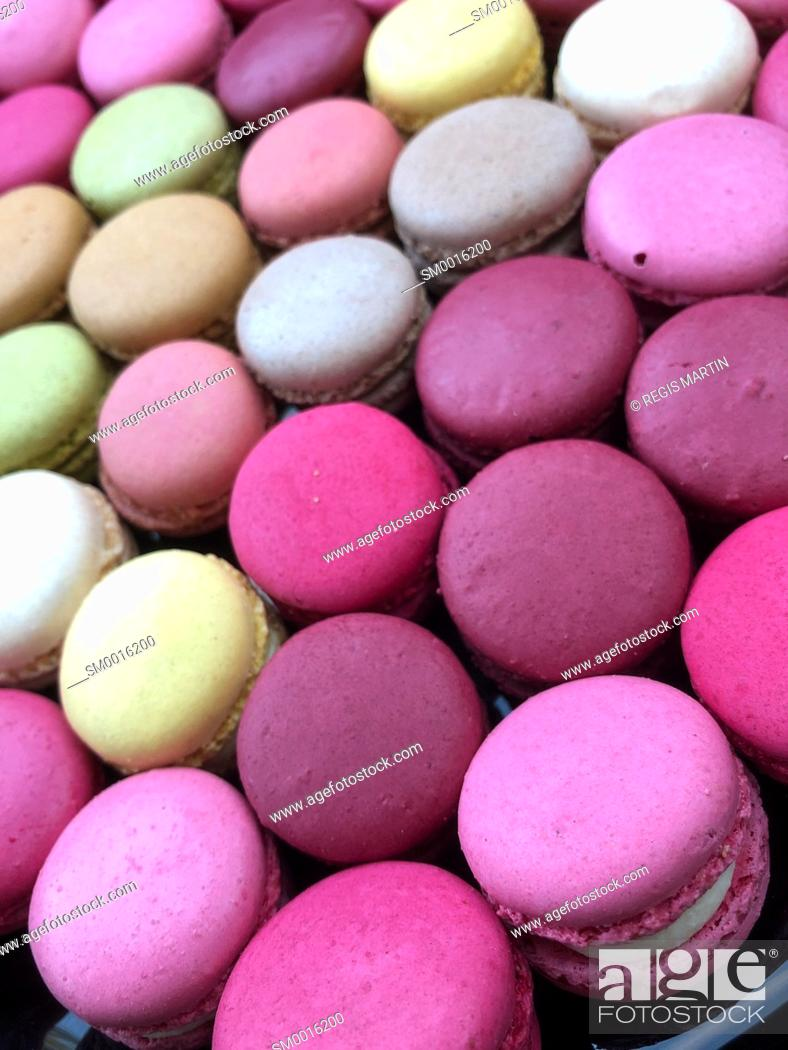 Stock Photo: Multiple coloured macarons.