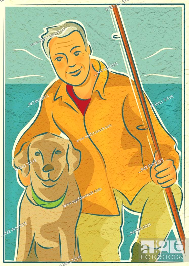 Stock Photo: An elderly man with his dog and a fishing rod by the water.