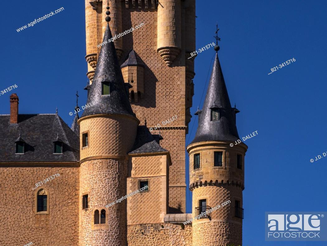 Stock Photo: Spain, Castilla-Leon, Segovia, Alcázar of Segovia.