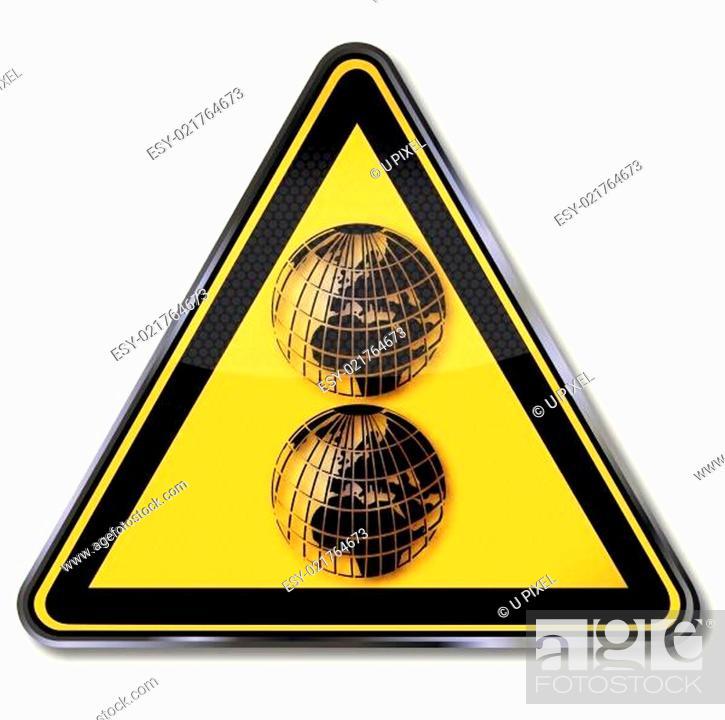 Vecteur de stock: Schild mit zwei Weltkugeln.