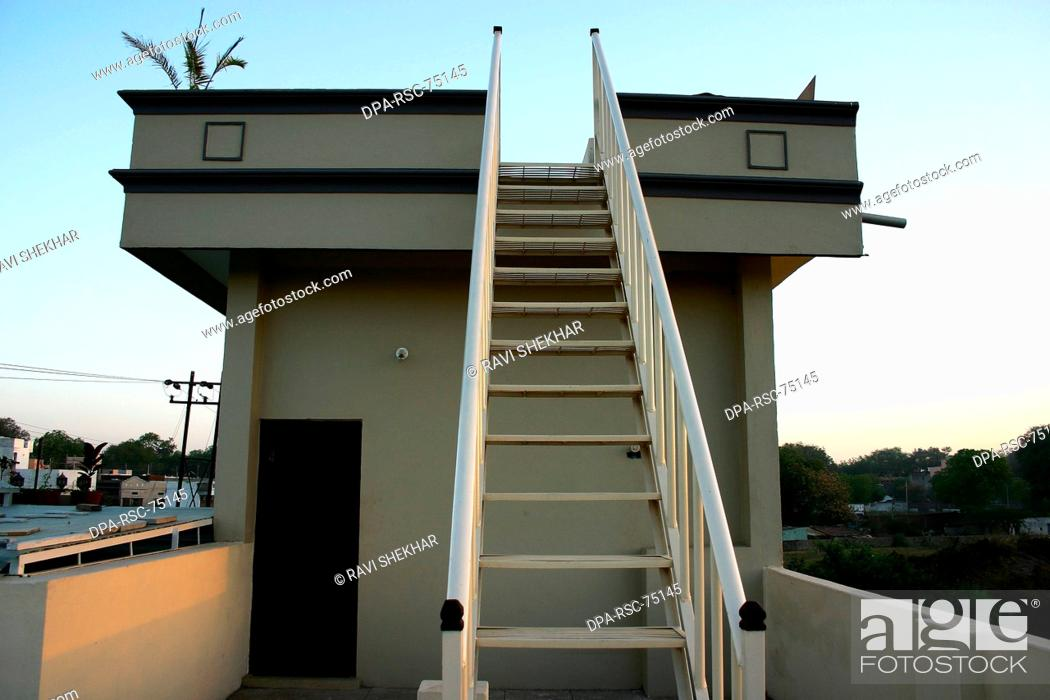 Modern Indian Architecture Iron Staircase Going To Roof Of Bungalow Maheshwar Stock Photo Picture And Rights Managed Image Pic Dpa Rsc 75145 Agefotostock