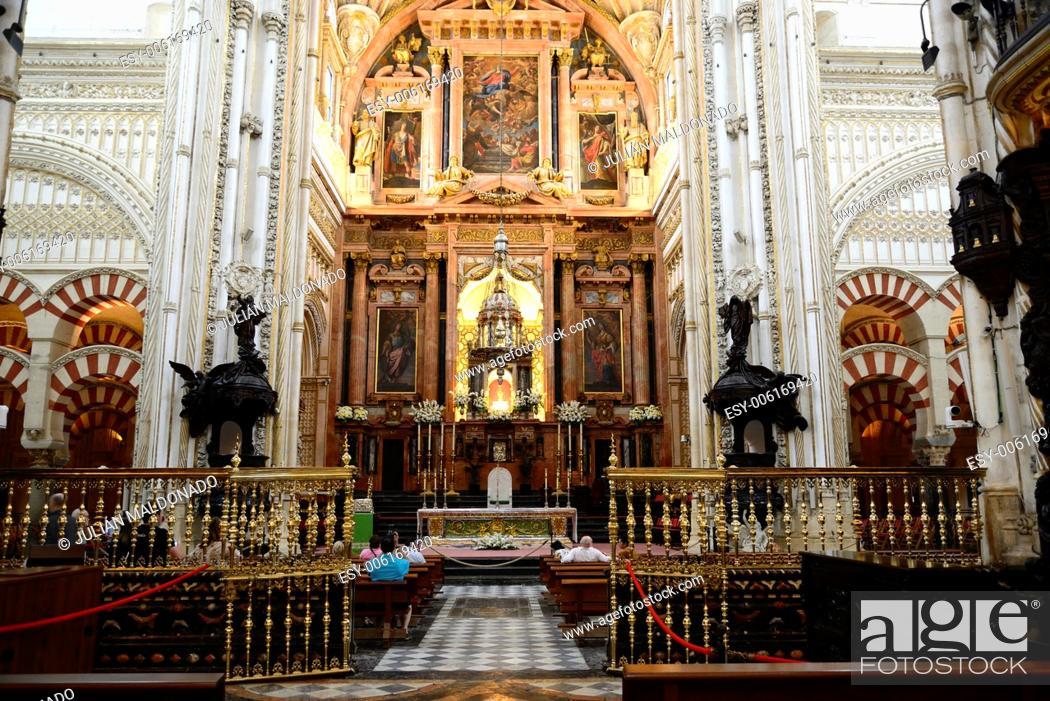 Stock Photo: Interior of the Mosque of Cordoba, Andalucía, Spain.