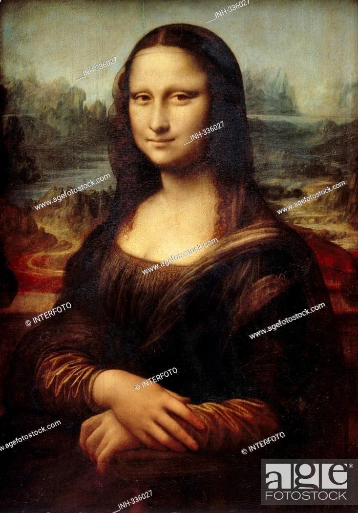 Stock Photo: fine arts, Leonardo da Vinci, 1425 - 1519, painting, Mona Lisa, La Gioconda, 1503 / 1505, oil on panel, 77 cm x 53 cm, Louvre, Paris, historic, historical.