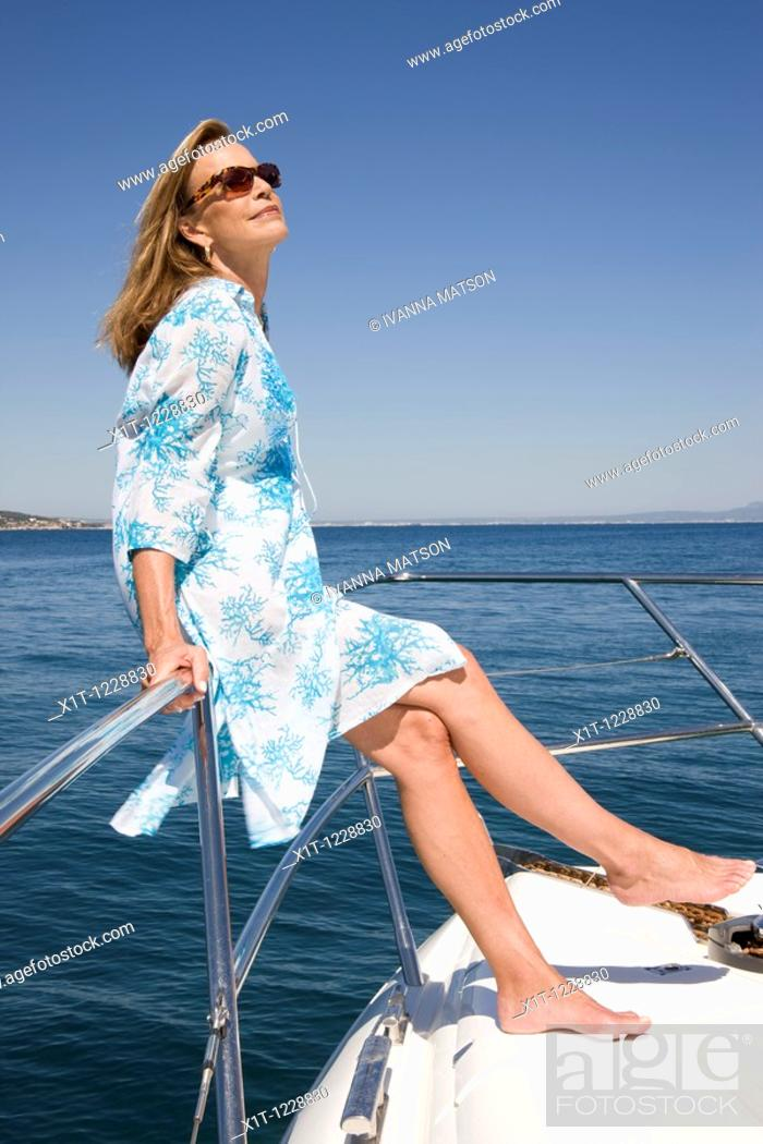 Stock Photo: Woman in yacht.