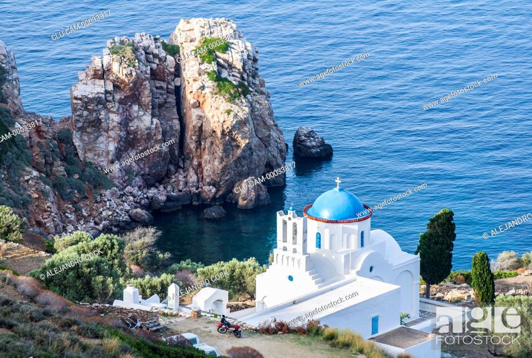 Stock Photo: Monastery the Panagiatis Poulatis, Sifnos, Kastro, Islands of Ciclades, Greece, Western Europe.