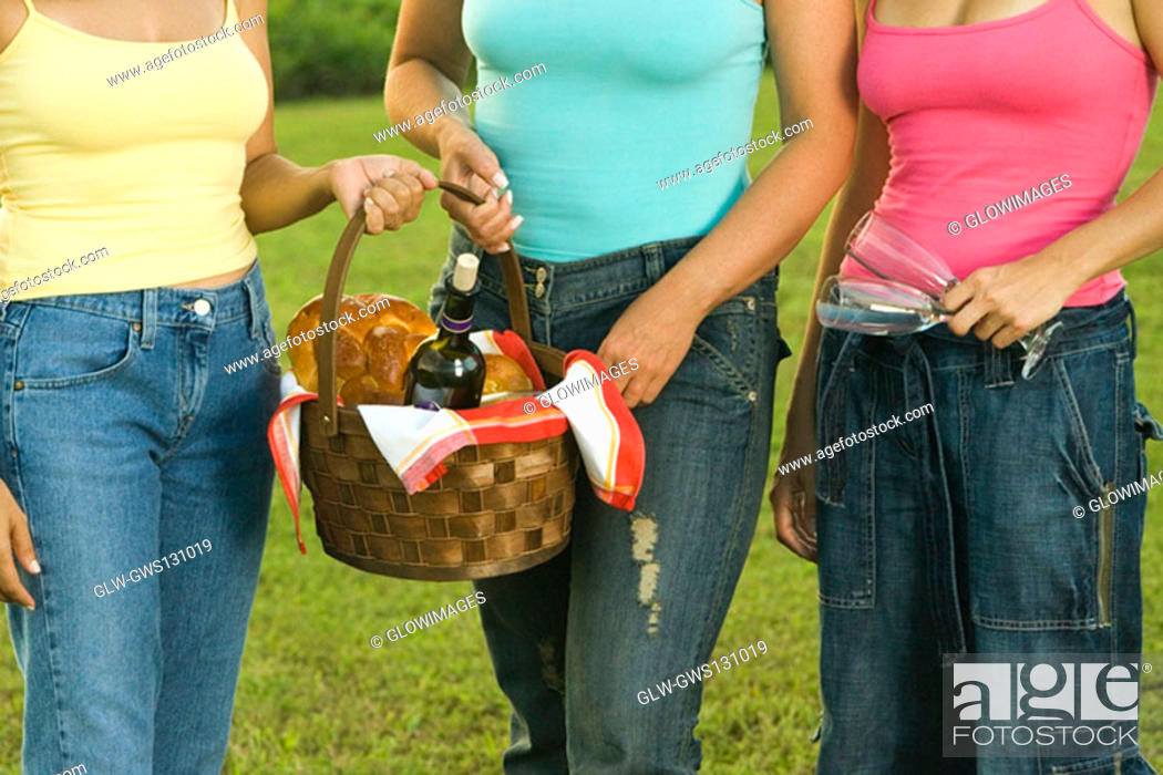 Stock Photo: Mid section view of three women standing together holding a picnic basket.
