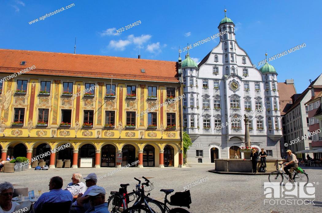 Stock Photo: Memmigen, Allgau, Town hall, market place, Market Square, Allgaeu region, Swabia, Germany, Bavaria, .