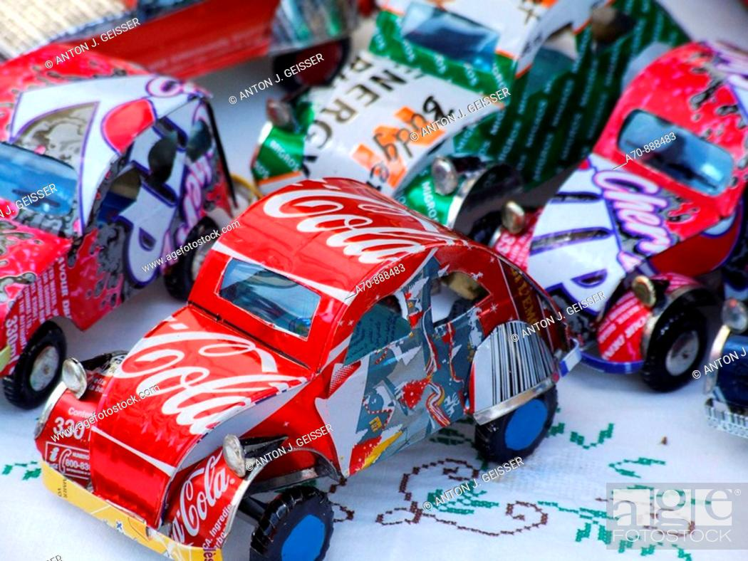 Stock Photo: Toy cars made from beverage cans.