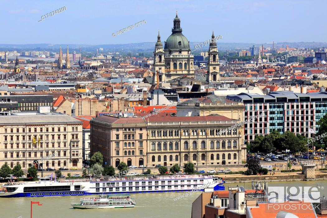 Stock Photo: Hungary, Central Hungary, Budapest, Danube, Capital City, panoramic view from Buda across the Danube to Pest, ahead the academy of sciences, neo-renaissance.