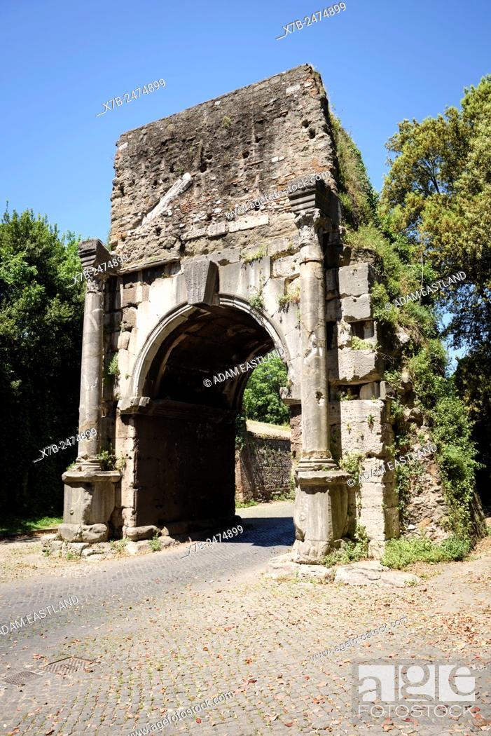 Stock Photo: Rome. Italy. Arch of Drusus. Arco di Druso.