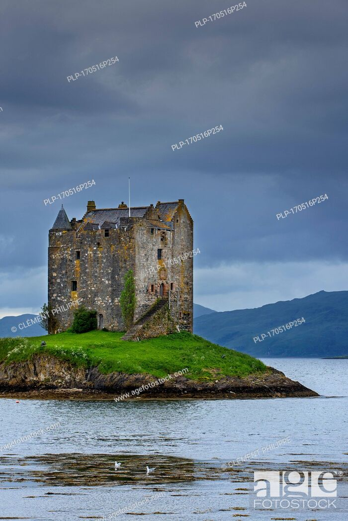 Stock Photo: Castle Stalker, medieval four-story tower house / keep in Loch Laich, inlet off Loch Linnhe near Port Appin, Argyll, Scotland, UK.