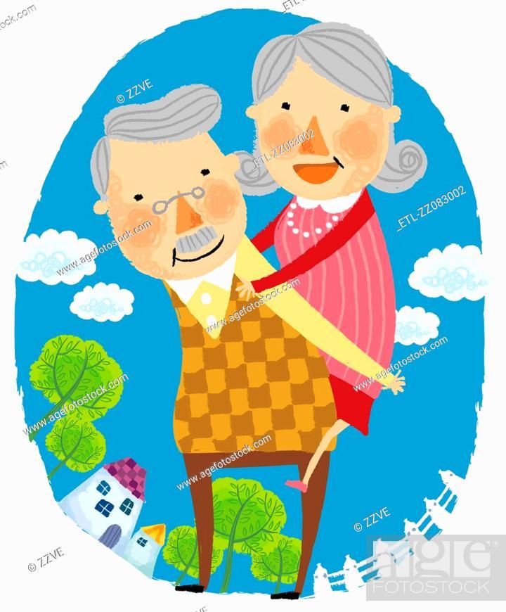 Stock Photo: Elderly man gives elderly wife piggy back.