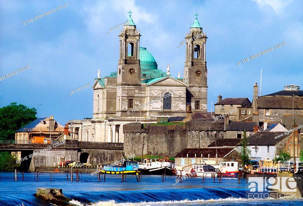 Stock Photo: Athlone, St Peter and Paul's Church and the River Shannon, Co Westmeath, Ireland.