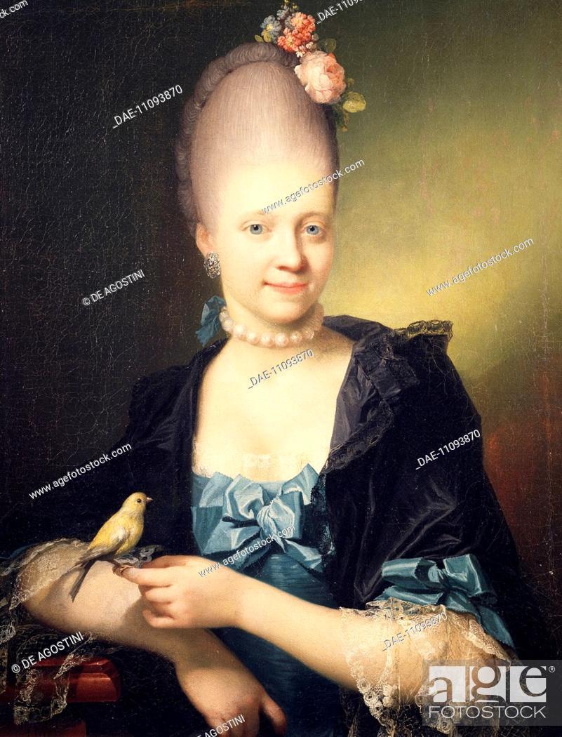 Stock Photo: Portrait of Sophie Charlotte De Thygesen (born Bertelsen De Cederfeld) (1747-1797), painting by Jens Juel (1745-1802), 1771.