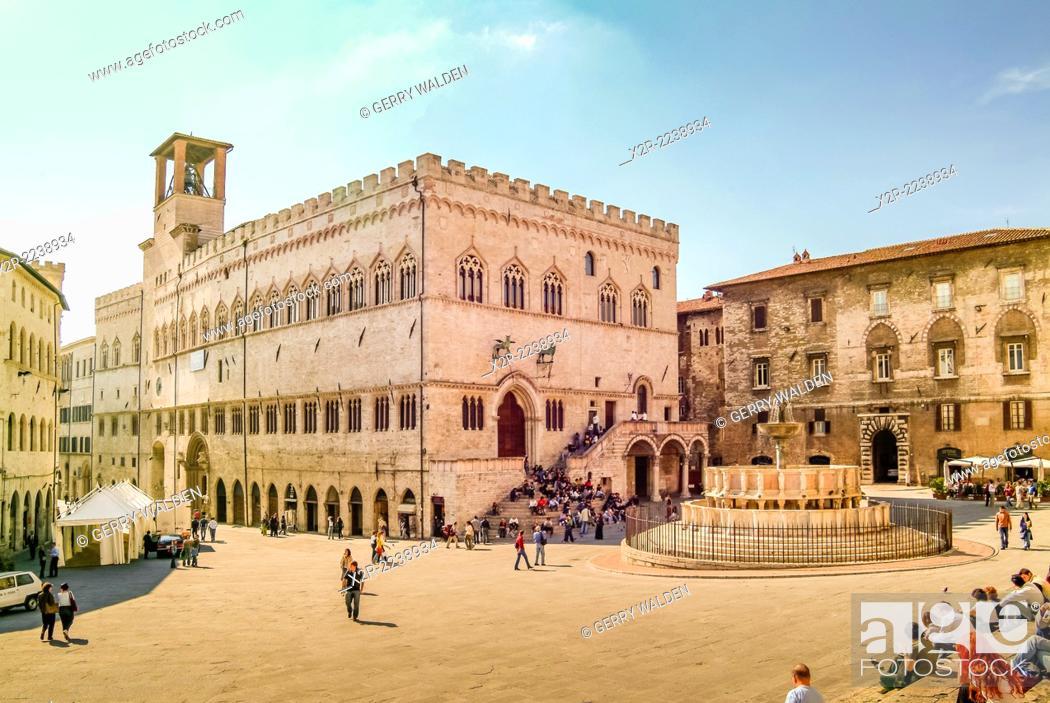Stock Photo: Palazzo dei Priori, Perugia, Italy.