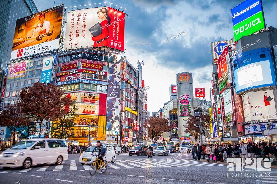 Stock Photo: Shibuya Scramble Kousaten crossing in Hachiko square, Tokyo, Japan.