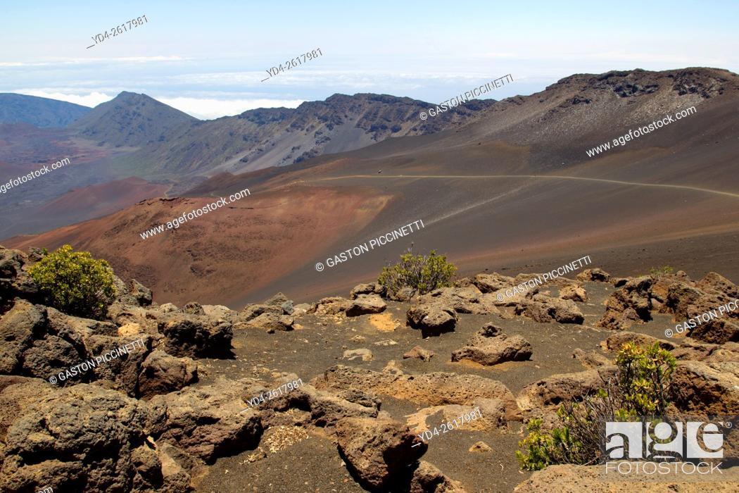 Stock Photo: Crater of Volcano Haleakala, Haleakala National Park, Maui Island, Hawaii, USA.