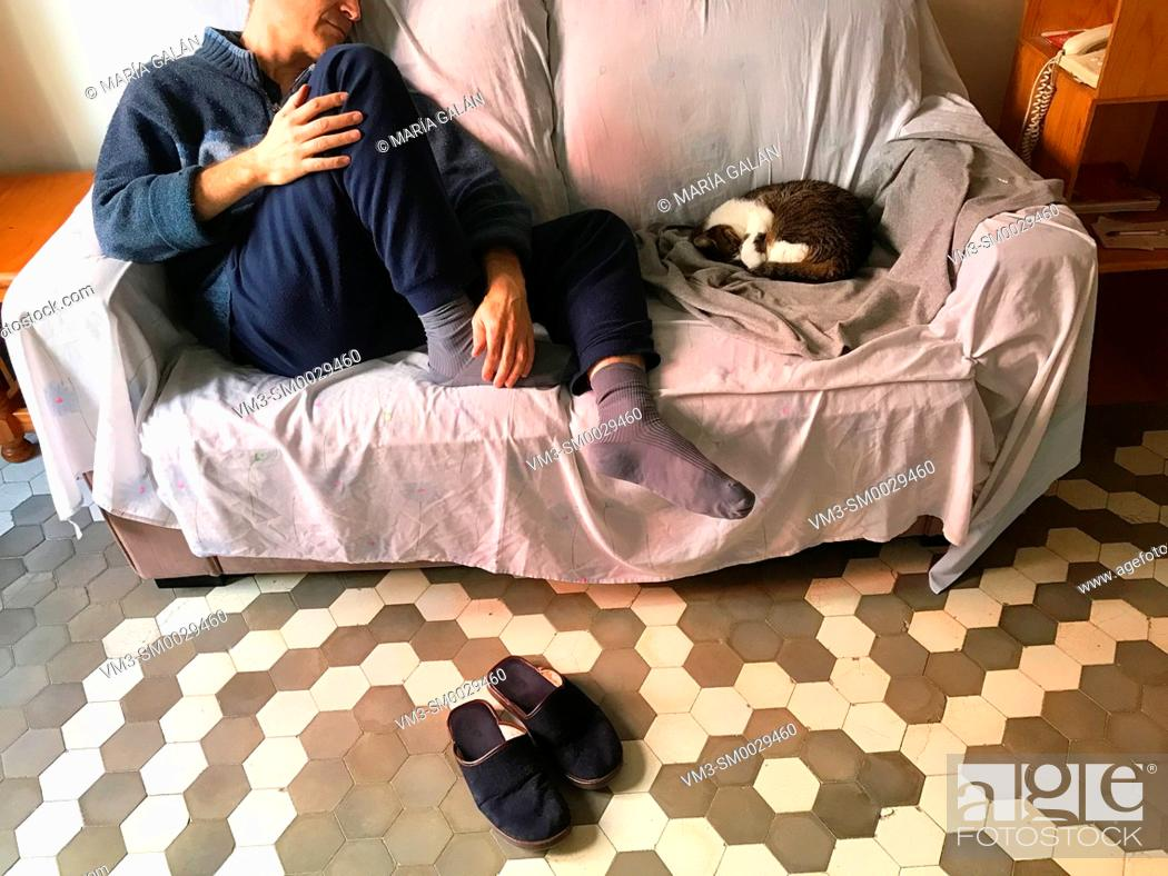 Stock Photo: Man sitting in a sofa with his cat asleep.