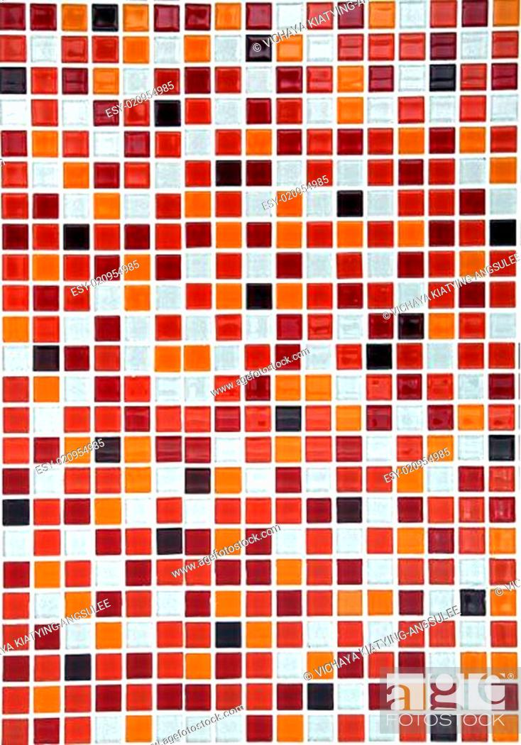 Stock Photo: red ceramic mosaic background, vertical.