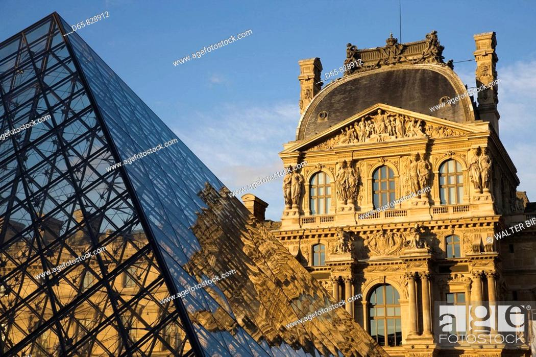 Stock Photo: Louvre Museum and the Pyramid at sunset, Paris, France.