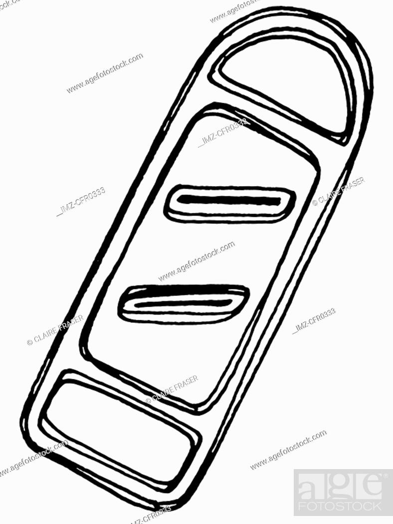 Stock Photo: A black and white illustration of a grater.
