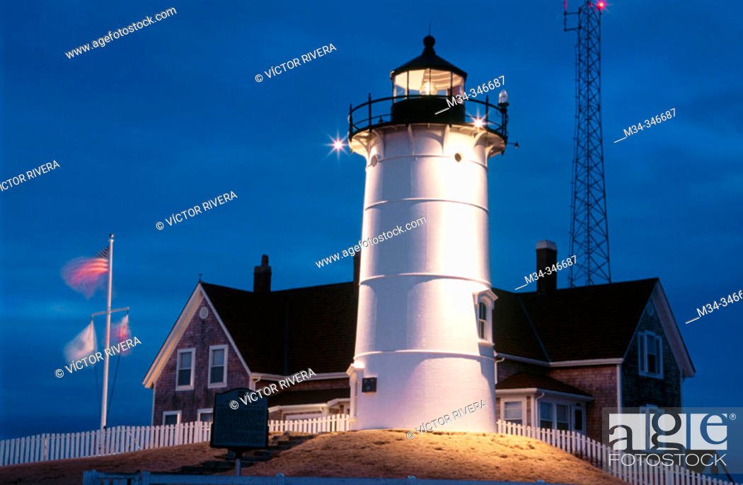 Stock Photo: Nobska lighthouse (1829). Woods Hole, Cape Cod. Massachusetts. USA.