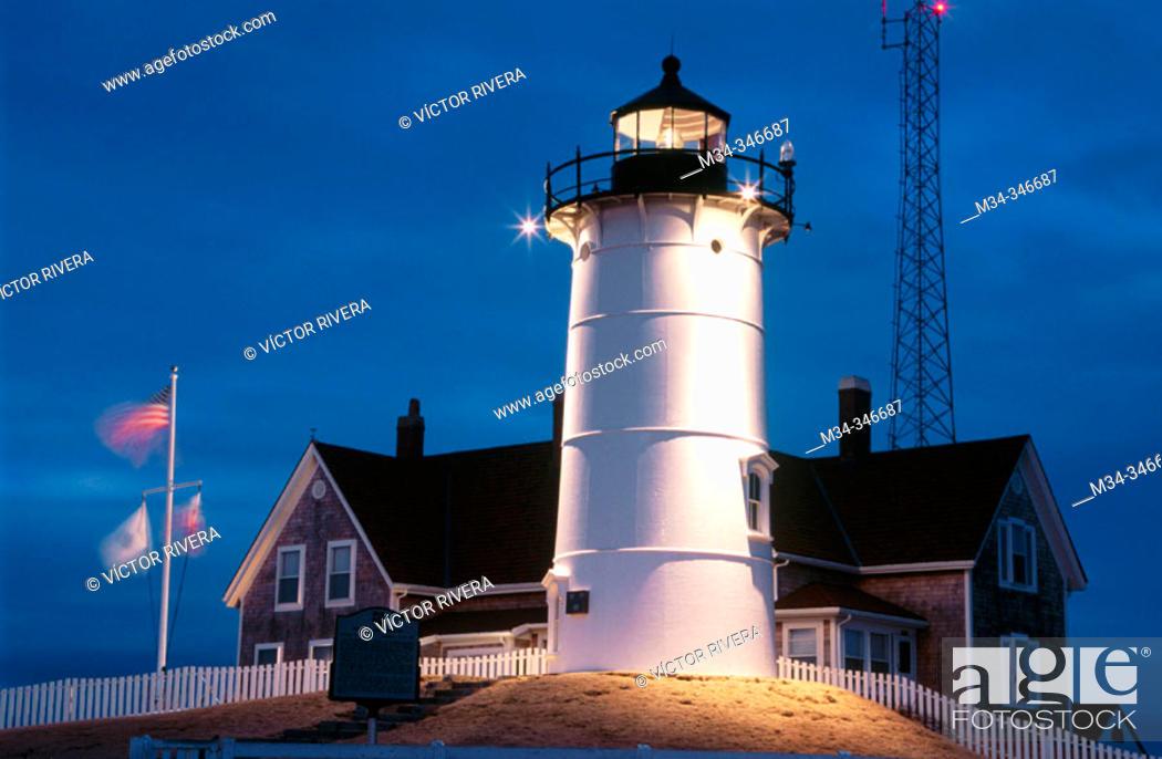 Stock Photo: Nobska lighthouse (1829). Woods Hole, Cape Cod. Massachusetts. USA.