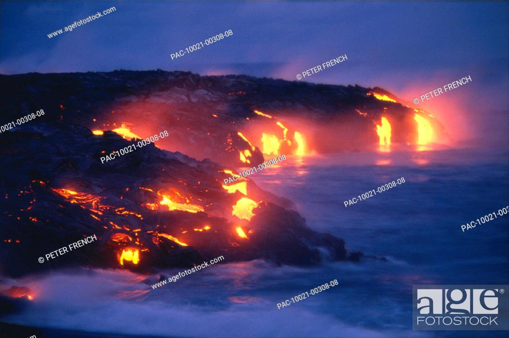Stock Photo: Big Island, Hawaii Volcano National Park, lava flow action into ocean A27D twilight.