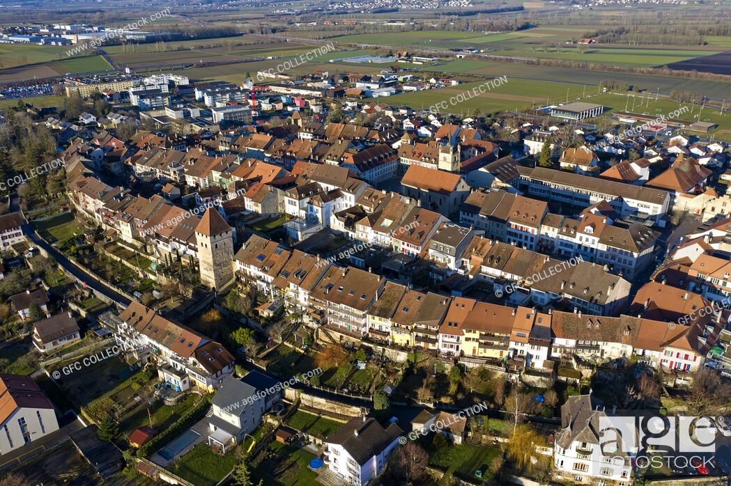 Stock Photo: Historical old town of Avenches, canton of Vaud, Switzerland.