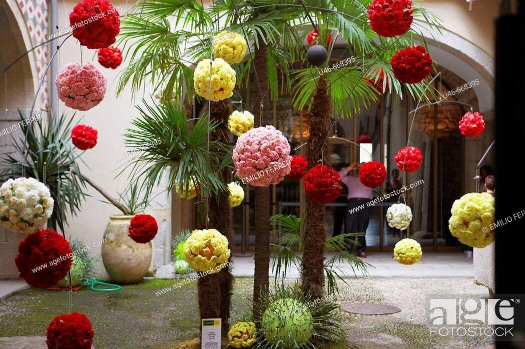 Stock Photo: Floral art exhibition in Girona, Cataluña. Spain.