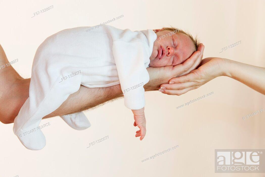 Stock Photo: Three week old baby boy.